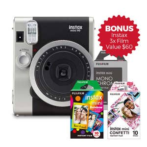 Fuji Instax Mini 90 Neo Classic Instant Camera - Bundle