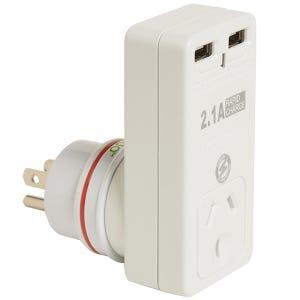 Korjo 2 Port UK USA Adapter 2.1 AMP Rapid Charge