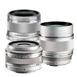 Olympus OMD triple silver lens kit